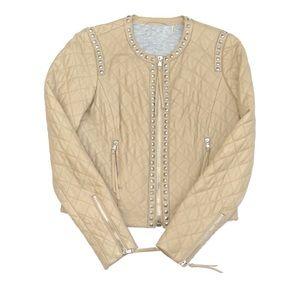 Rebecca Taylor Nude Lamb Leather Stud Jacket